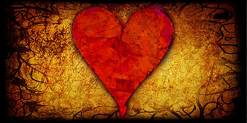 image of heart on gold background